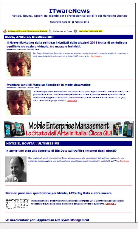 ITwareNews, eZine per l'e-Mail Marketing
